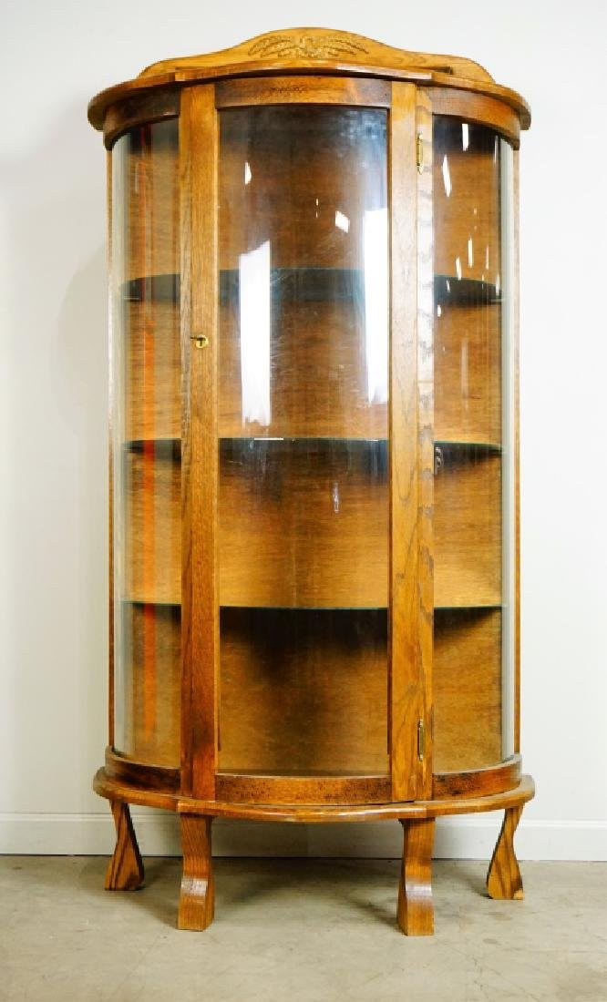 OAK COVERED GLASS DISPLAY CABINET - 5
