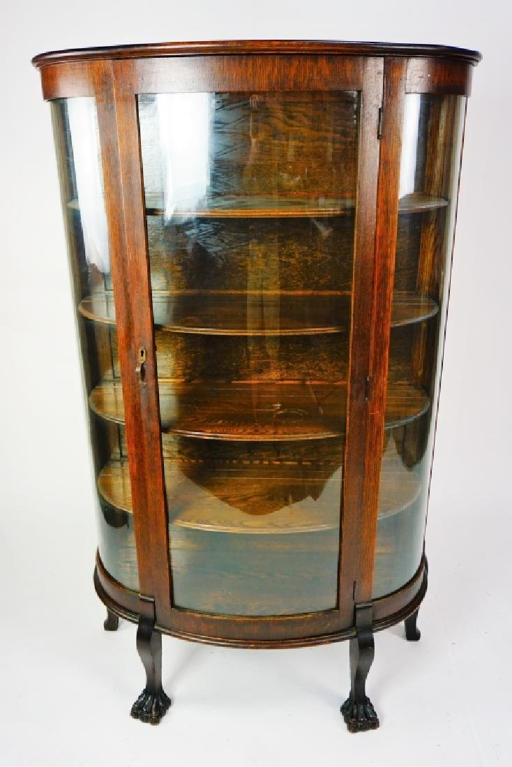 ANTIQUE CURVED GLASS CURIO CABINET