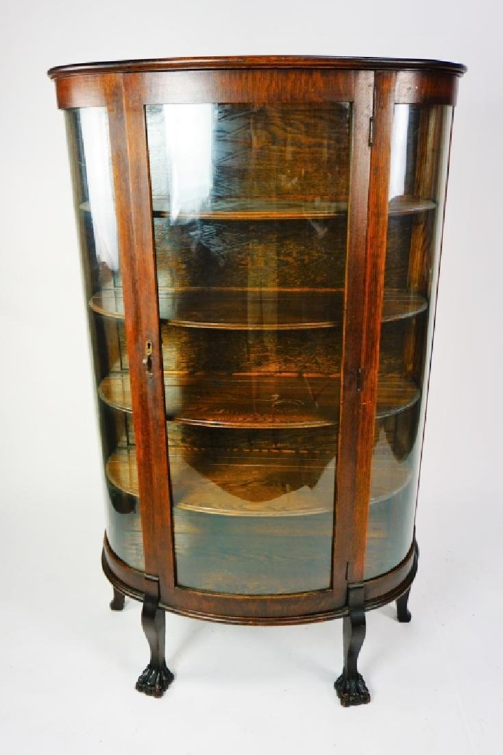 ANTIQUE CURVED GLASS CURIO CABINET - 2