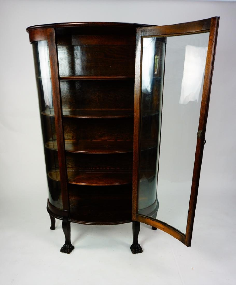 ANTIQUE CURVED GLASS CURIO CABINET - 3