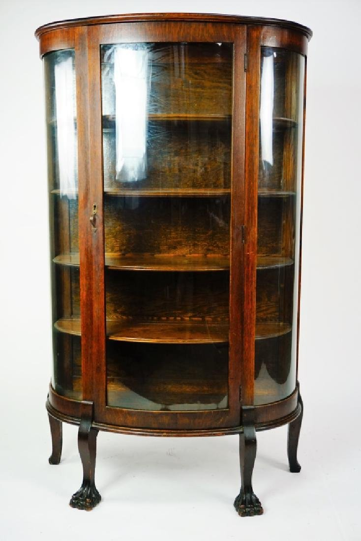 ANTIQUE CURVED GLASS CURIO CABINET - 5