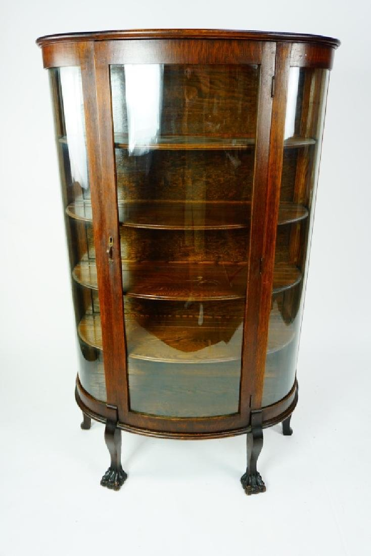ANTIQUE CURVED GLASS CURIO CABINET - 7