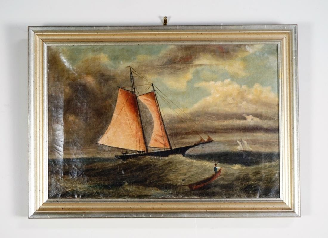 EARLY 19TH CENTURY OIL ON CANVAS NAUTICAL PAINTING