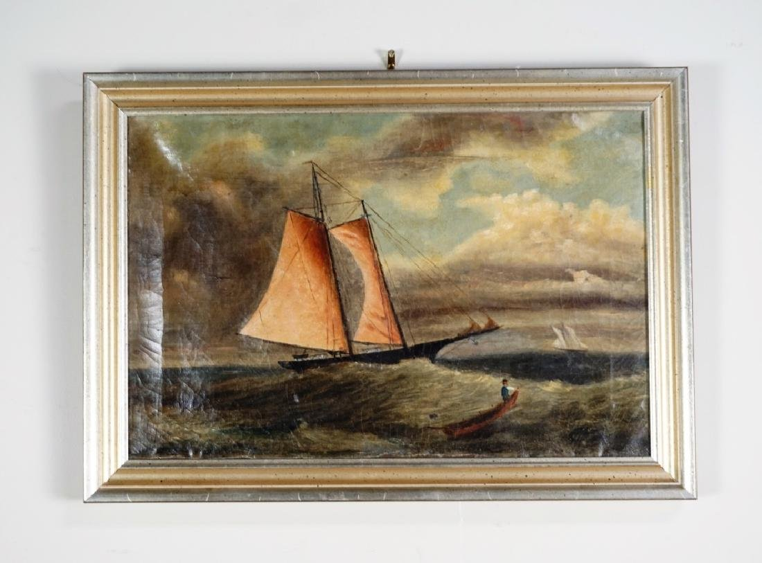 EARLY 19TH CENTURY OIL ON CANVAS NAUTICAL PAINTING - 2