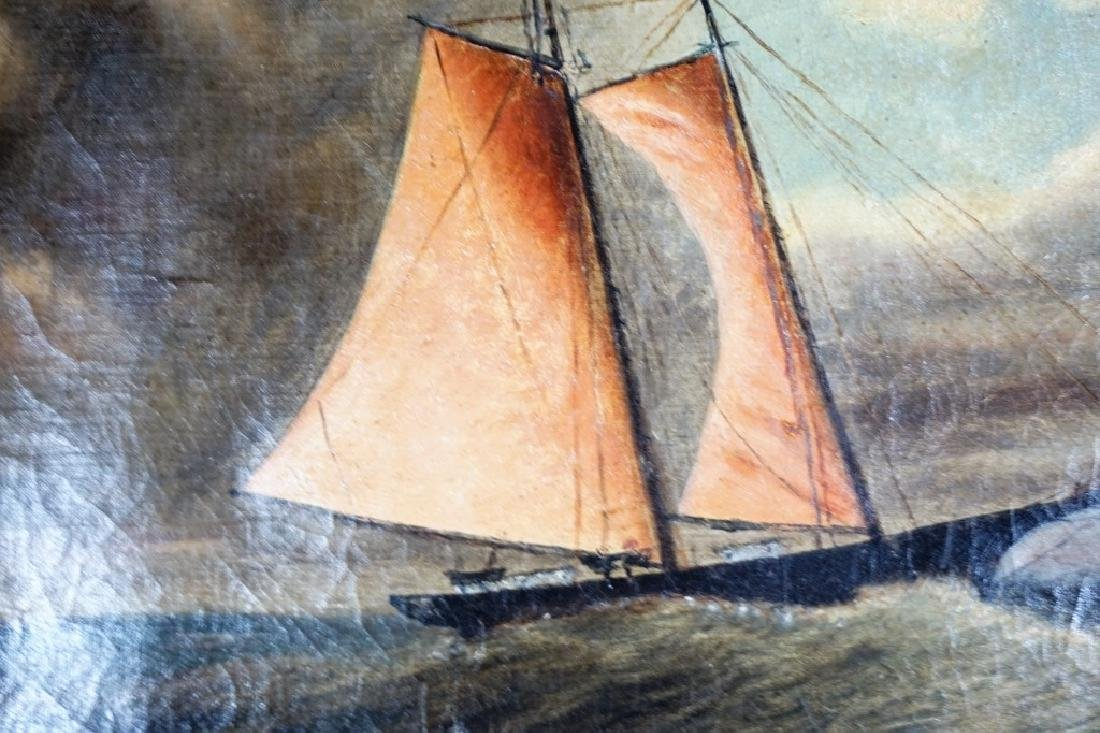 EARLY 19TH CENTURY OIL ON CANVAS NAUTICAL PAINTING - 5