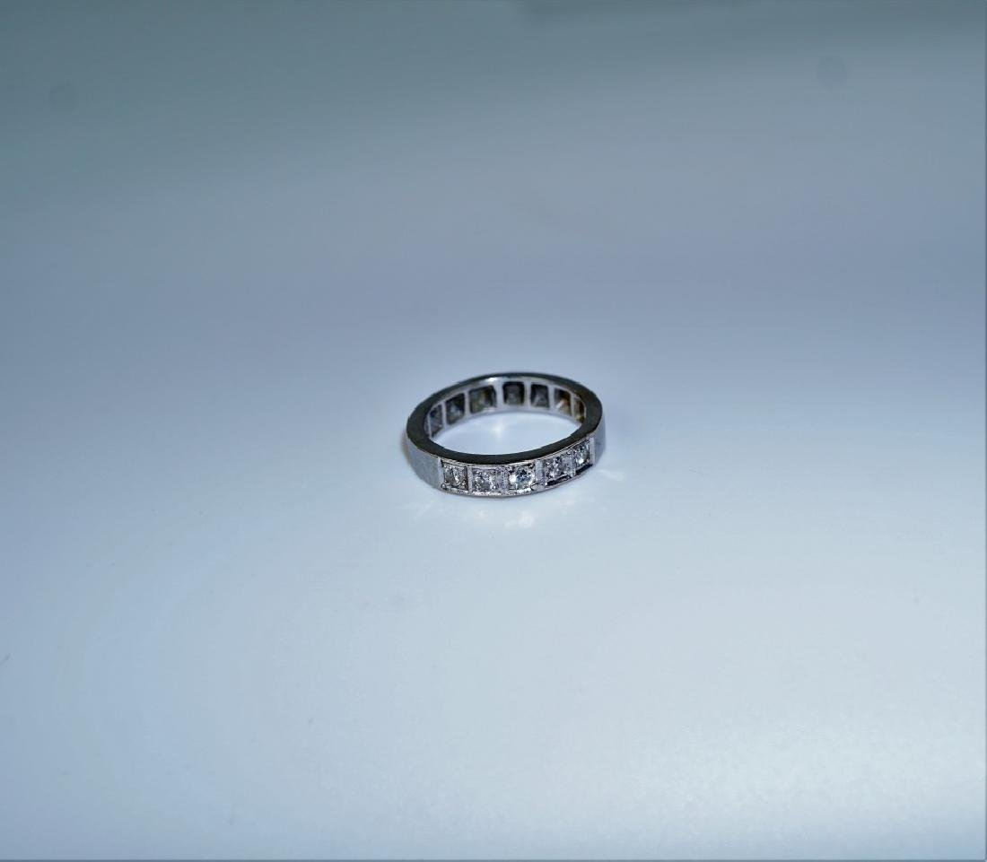 14K WHITE GOLD & DIAMOND DECO RING - 2