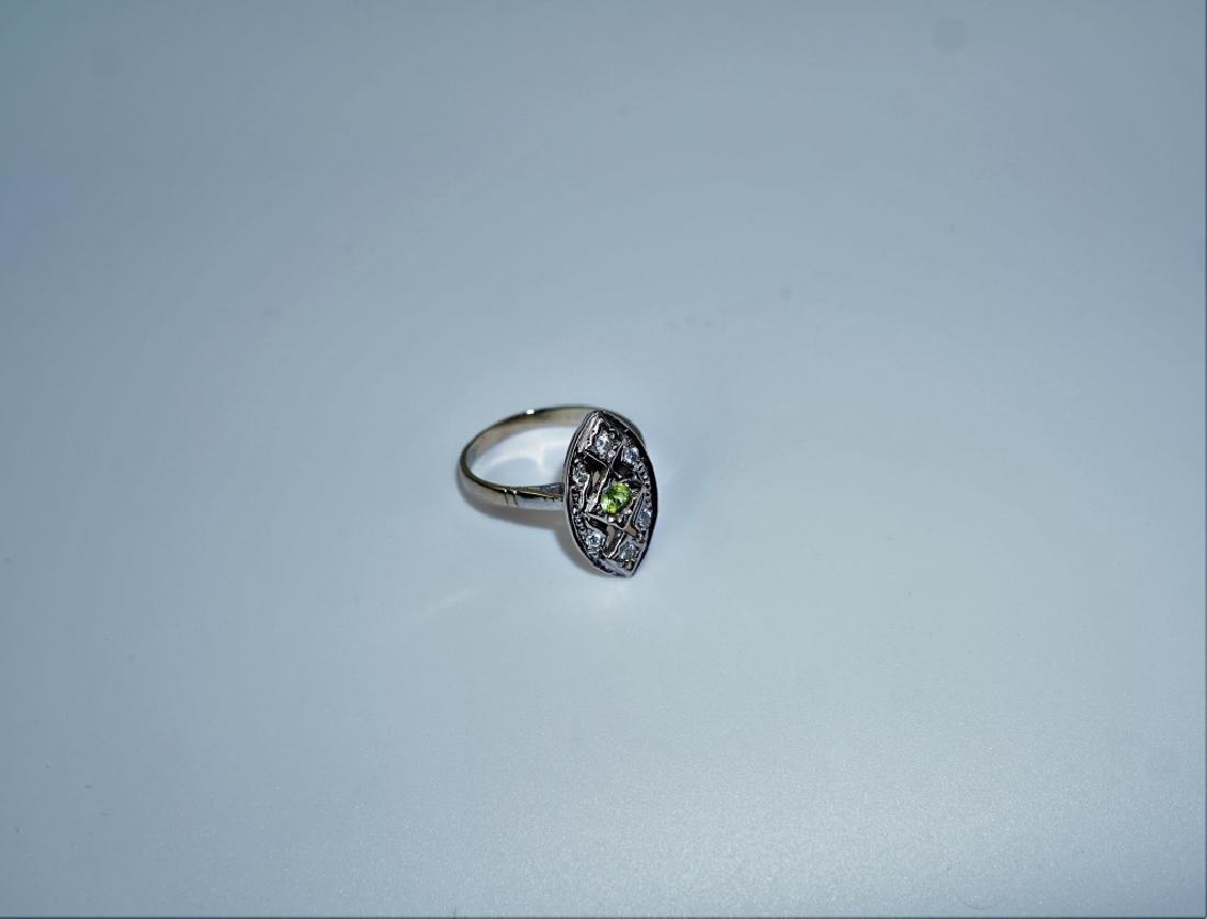 14K WHITE GOLD CITRINE & DIAMOND FASHION RING - 2