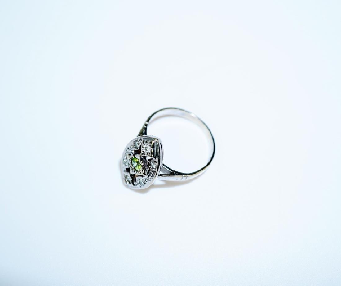 14K WHITE GOLD CITRINE & DIAMOND FASHION RING - 4