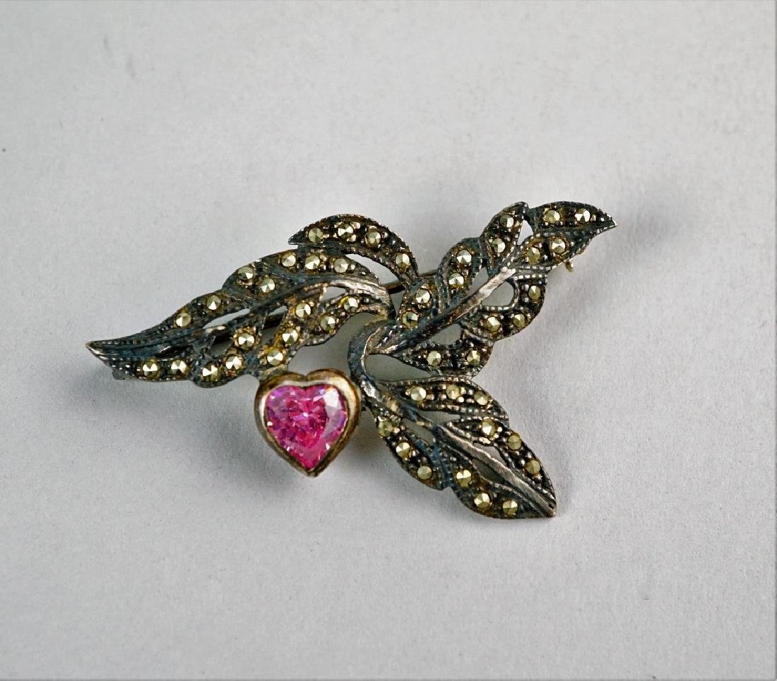 STERLING SILVER & MARCASITE BROOCH