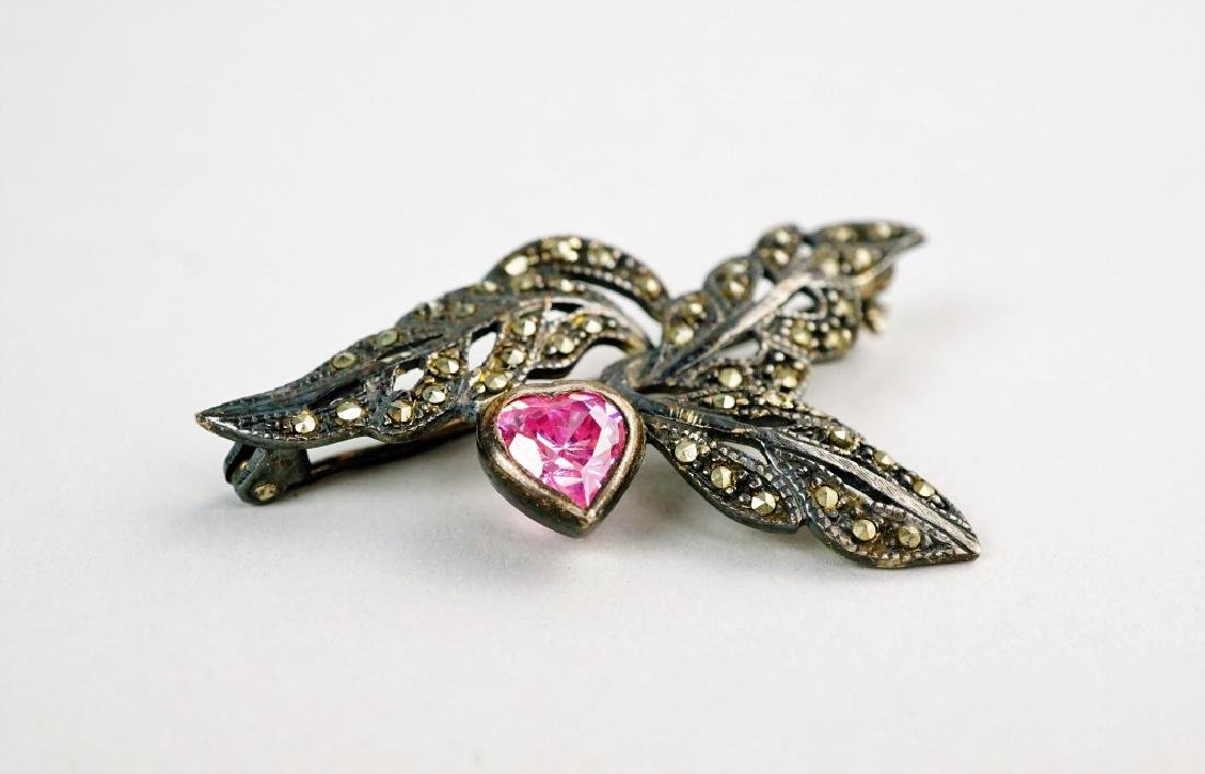 STERLING SILVER & MARCASITE BROOCH - 2