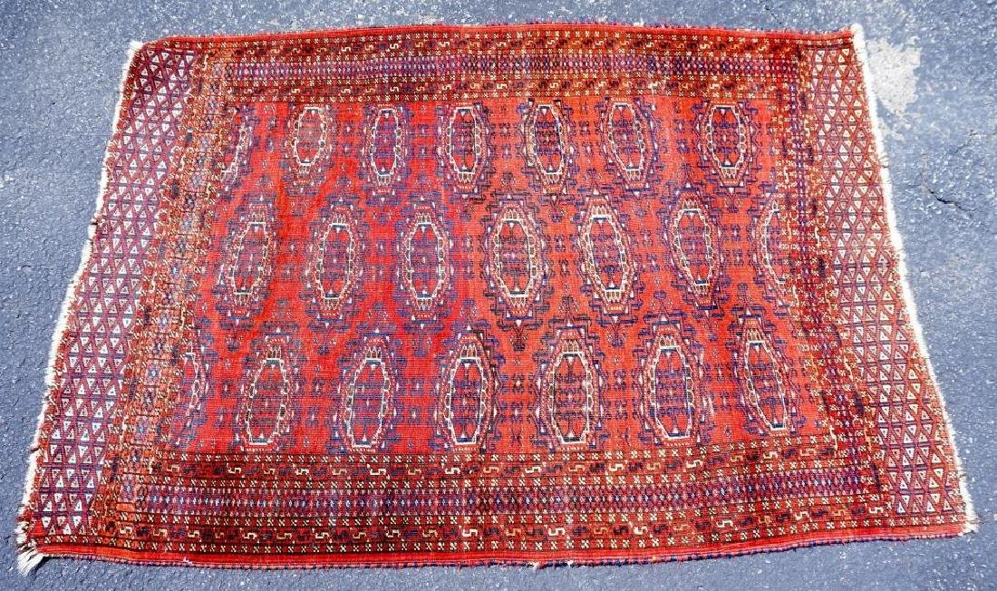 SEMI ANTIQUE PERSIAN TURKOMAN THROW RUG - 2