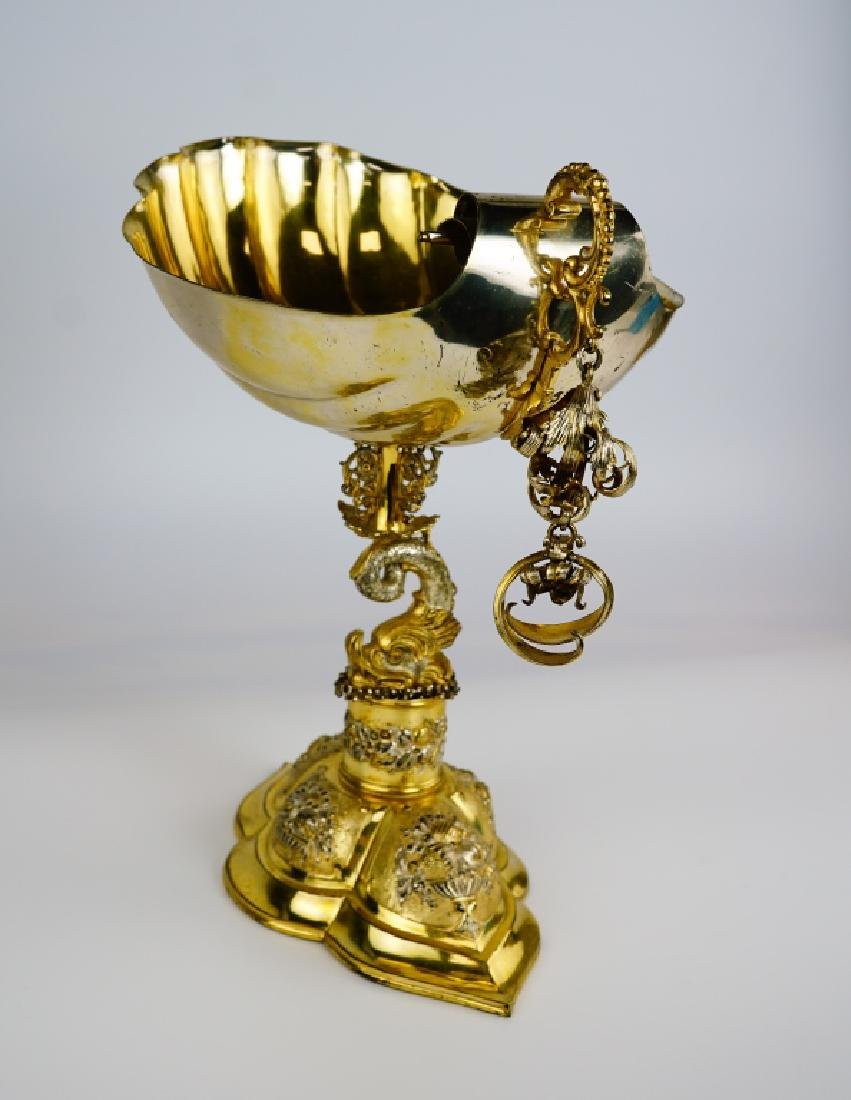 GERMAN SILVER SHELL COMPOTE - 8