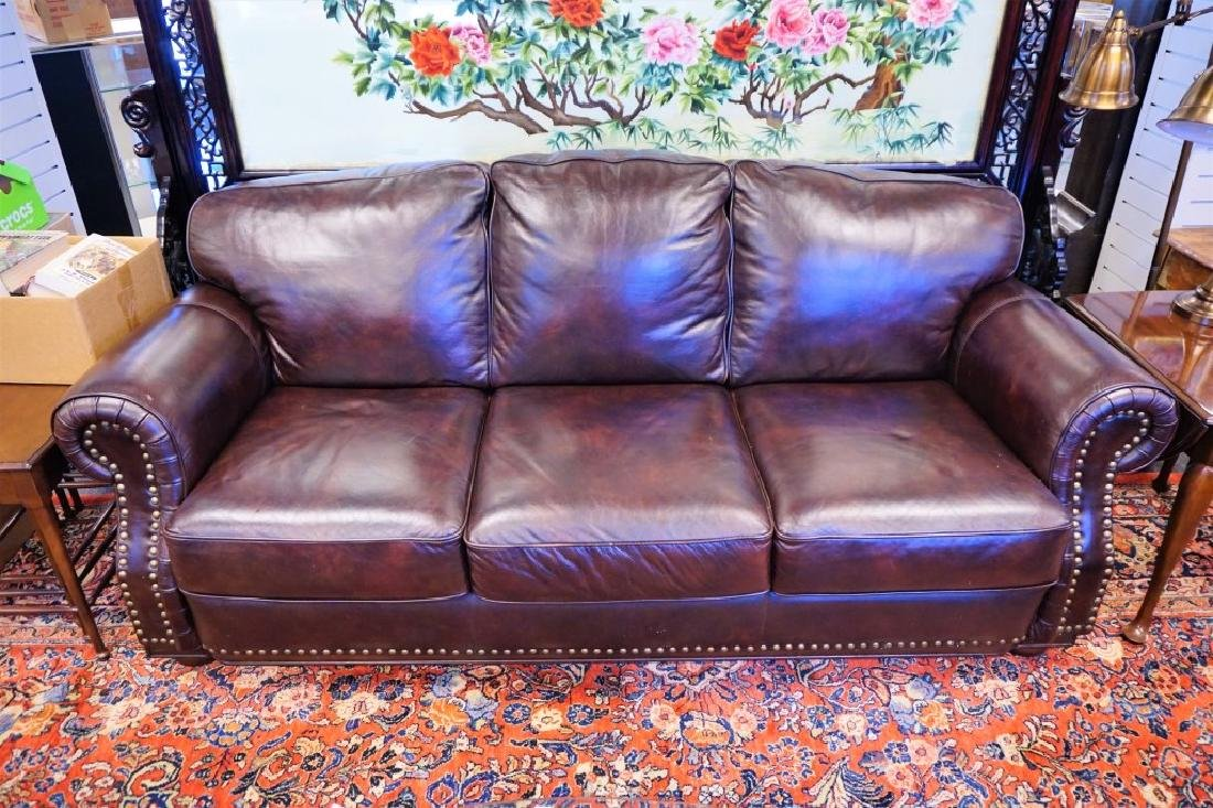 3-SEAT BROWN LEATHER SOFA BY VIOLINO LIMITIED