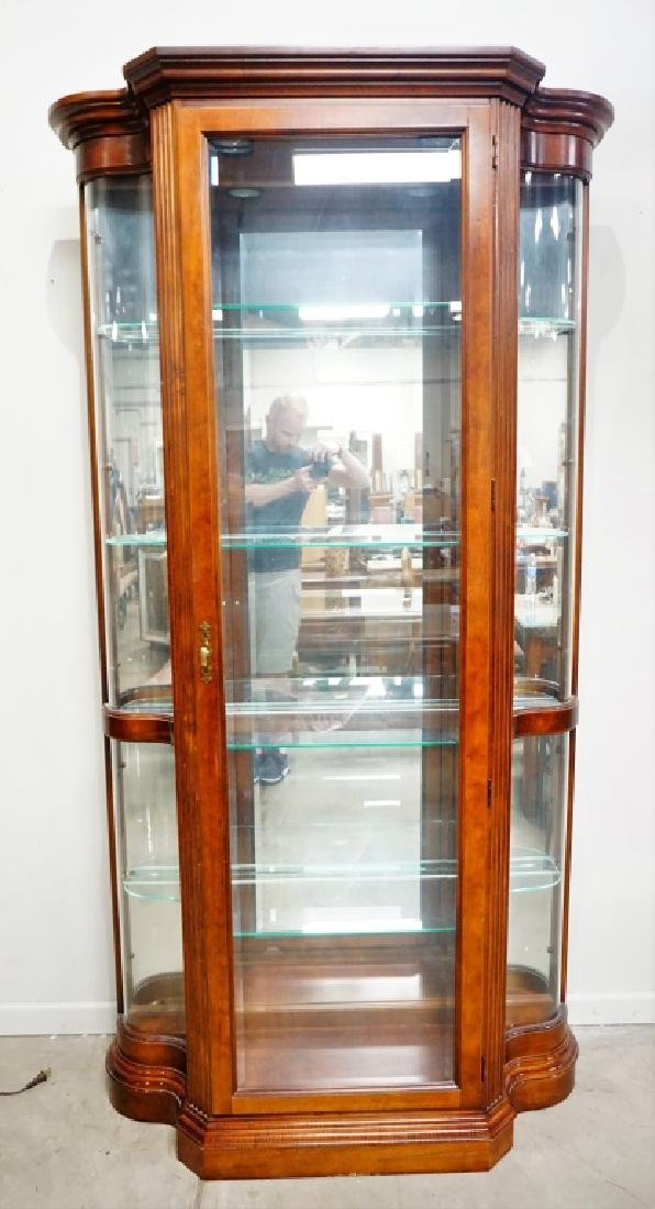 MAHOGANY SERPENTINE BY PULASKI DISPLAY CABINET