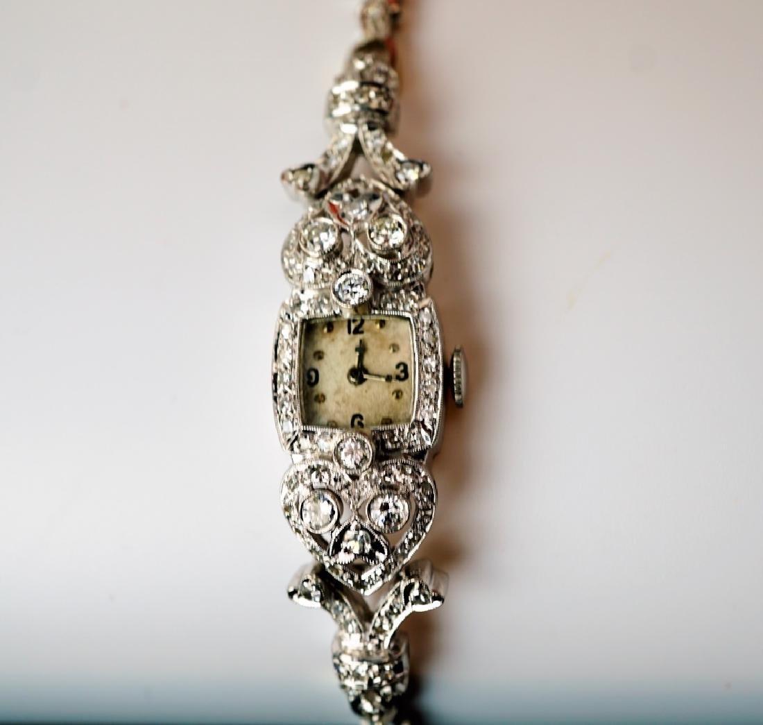 ART DECO 14K WHITE GOLD & DIAMOND WRIST WATCH