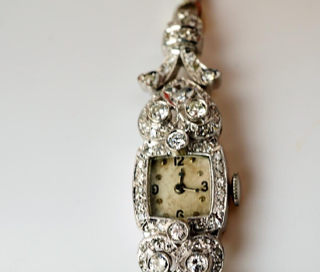 ART DECO 14K WHITE GOLD & DIAMOND WRIST WATCH - 3