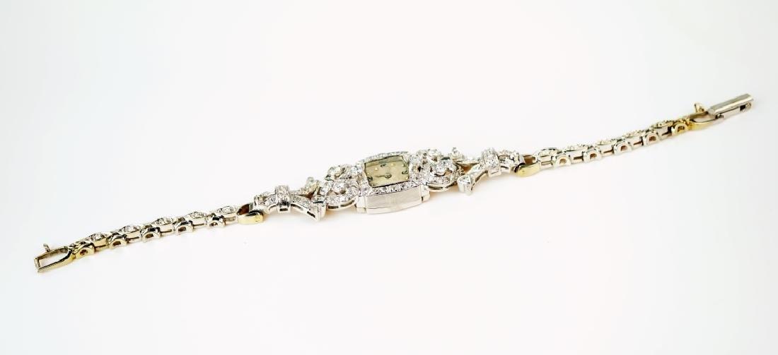 ART DECO 14K WHITE GOLD & DIAMOND WRIST WATCH - 4