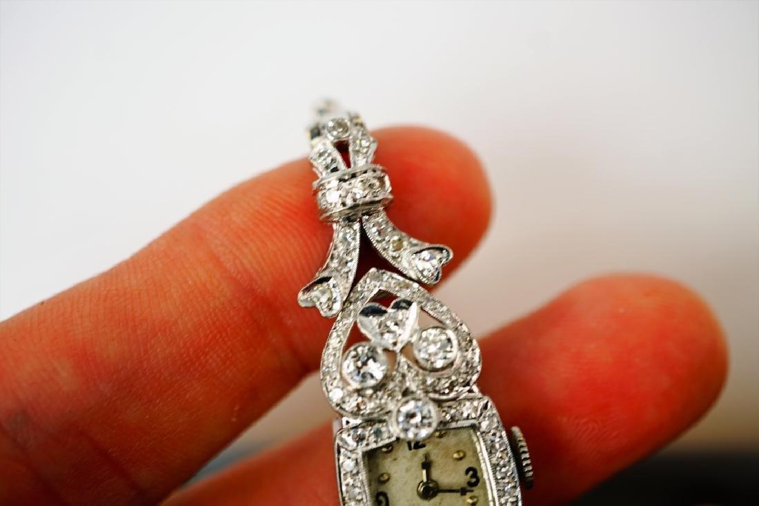 ART DECO 14K WHITE GOLD & DIAMOND WRIST WATCH - 6