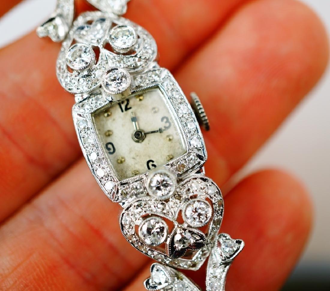 ART DECO 14K WHITE GOLD & DIAMOND WRIST WATCH - 7