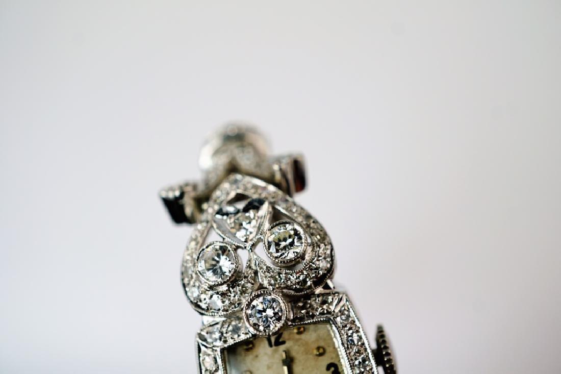 ART DECO 14K WHITE GOLD & DIAMOND WRIST WATCH - 9
