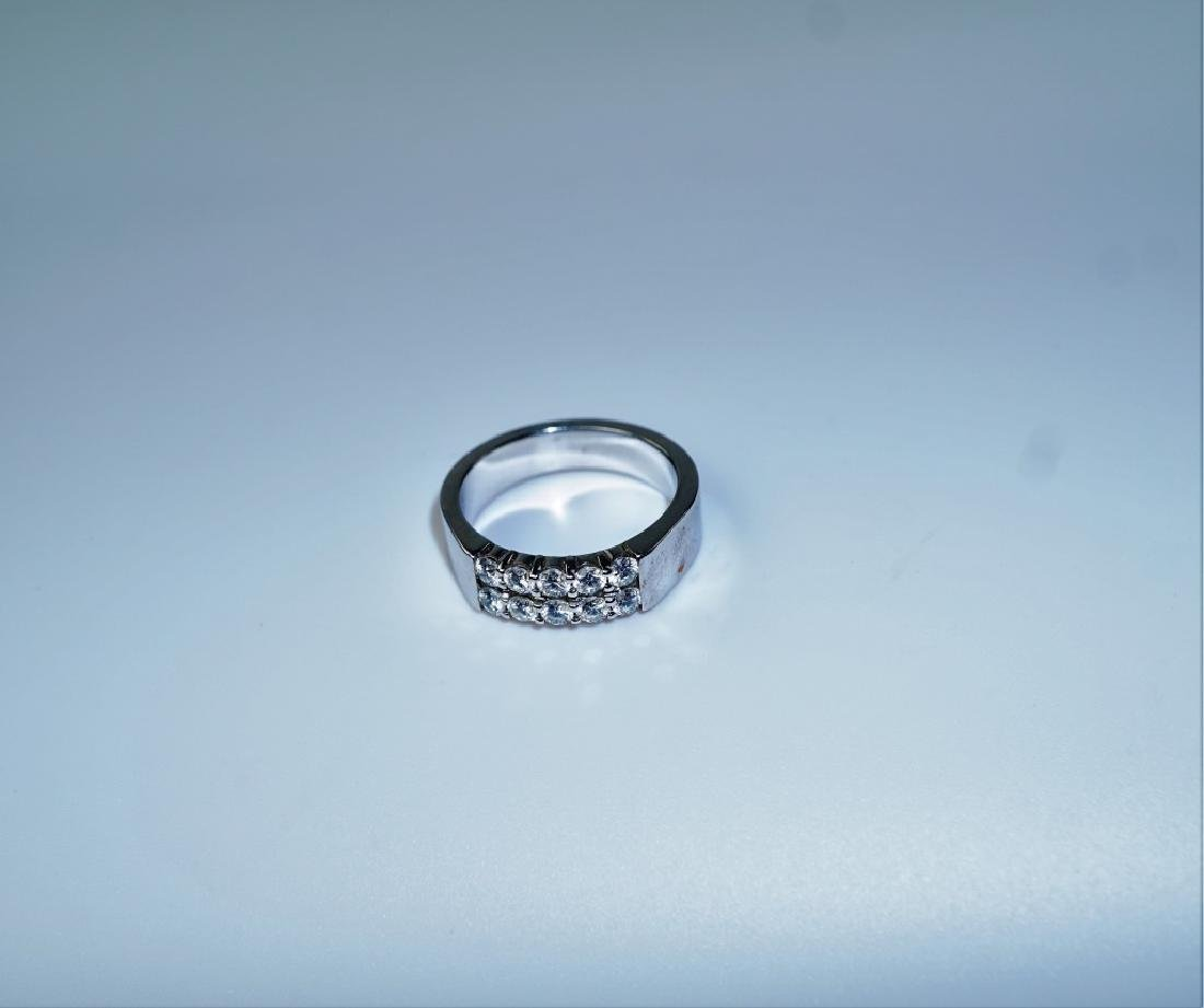 14K WHITE GOLD AND DIAMOND FASHION RING - 2