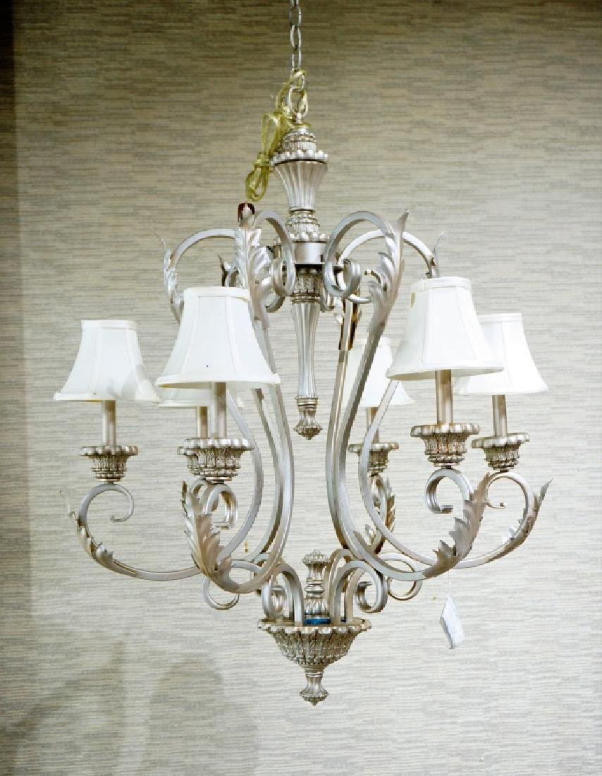 6-LIGHT METAL CHANDELIER WITH CLOTH SHADES