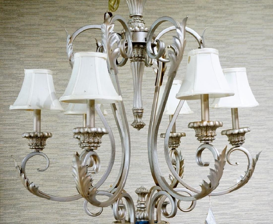 6-LIGHT METAL CHANDELIER WITH CLOTH SHADES - 3