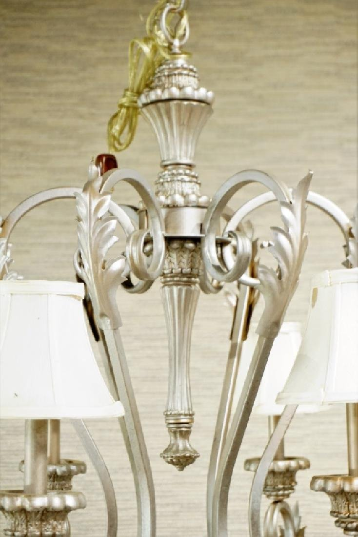 6-LIGHT METAL CHANDELIER WITH CLOTH SHADES - 6