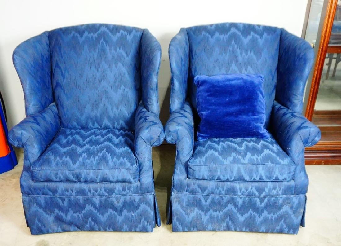 PAIR HIGH BACK WING CHAIRS - 2