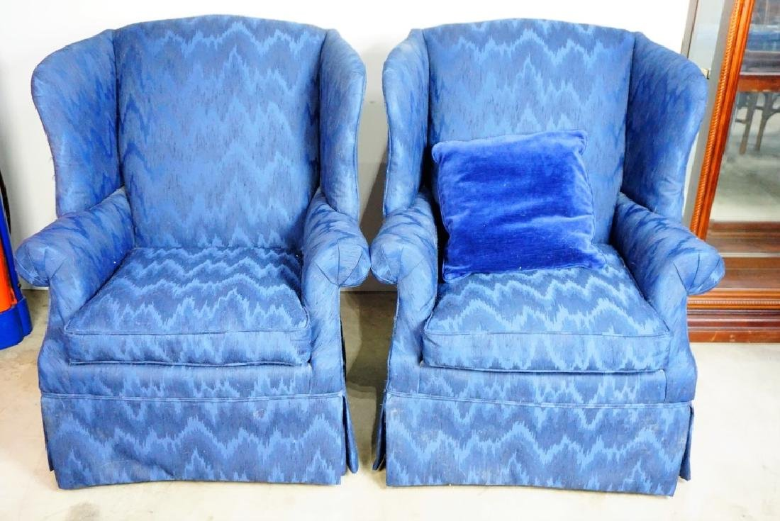 PAIR HIGH BACK WING CHAIRS - 7
