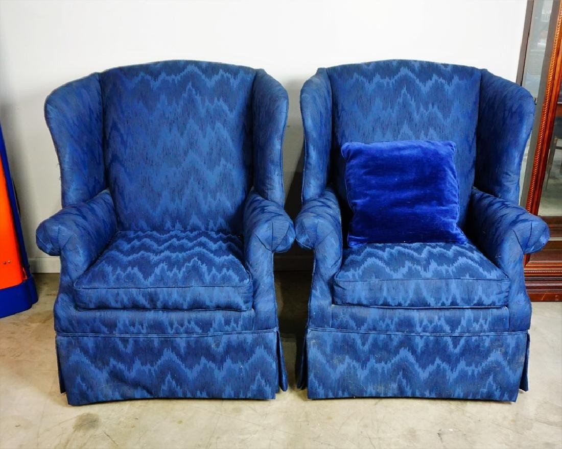 PAIR HIGH BACK WING CHAIRS - 9
