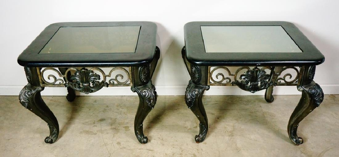 (2) MODERN END TABLES WITH GLASS TOPS