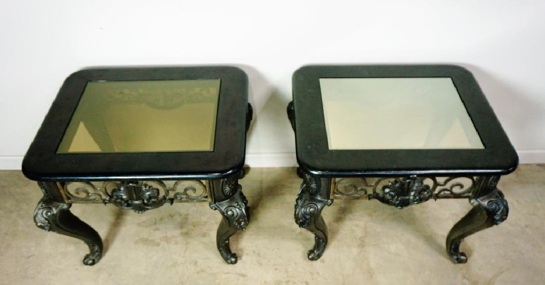 (2) MODERN END TABLES WITH GLASS TOPS - 2