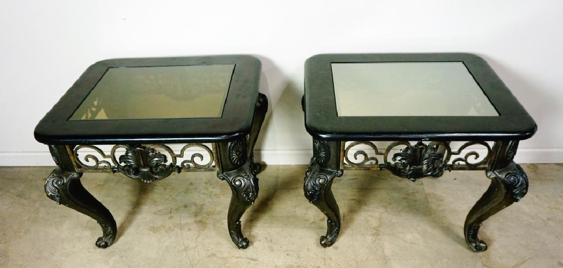 (2) MODERN END TABLES WITH GLASS TOPS - 5