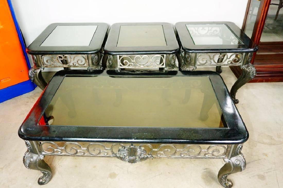 MODERN COFFEE TABLE WITH GLASS TOP