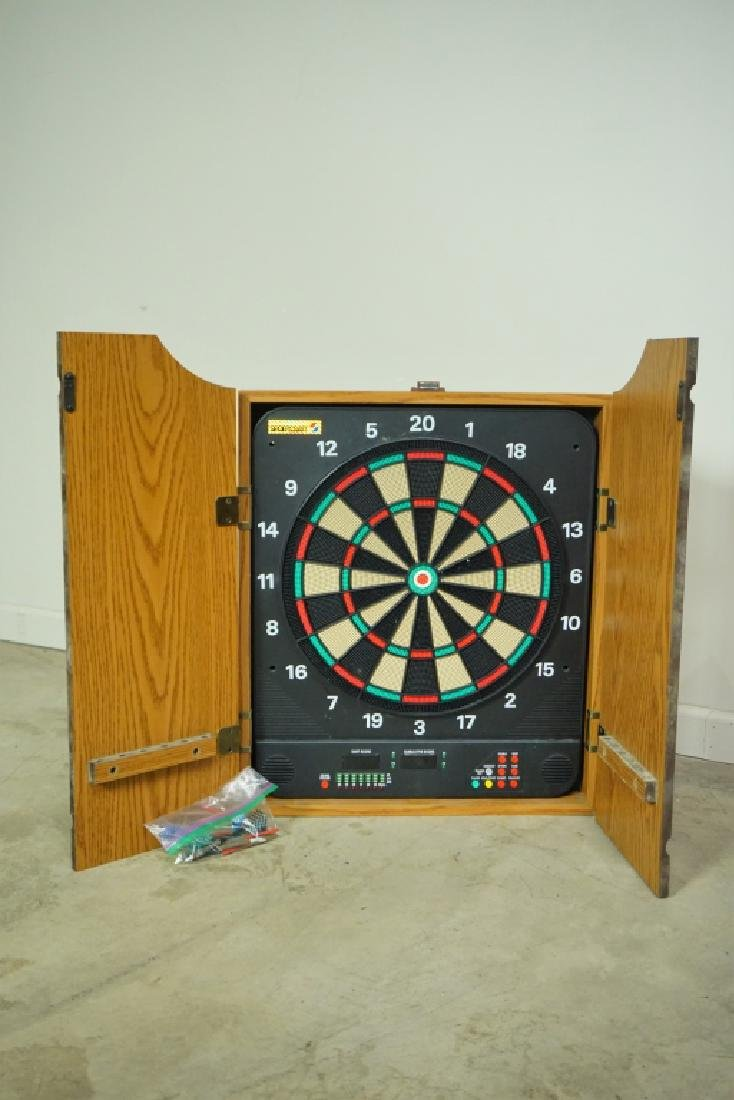 ELECTRIC DART BOARD IN FITTED WALL CABINET