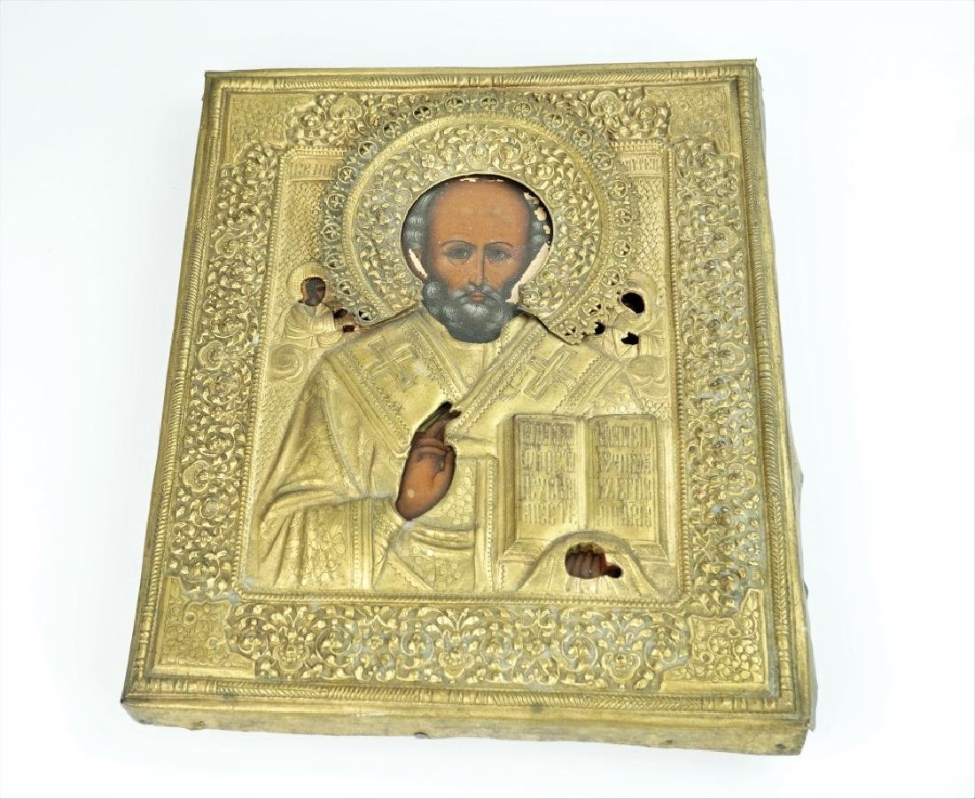 19th CENTURY RUSSIAN ORTHODOX ST NICHOLAS ICON
