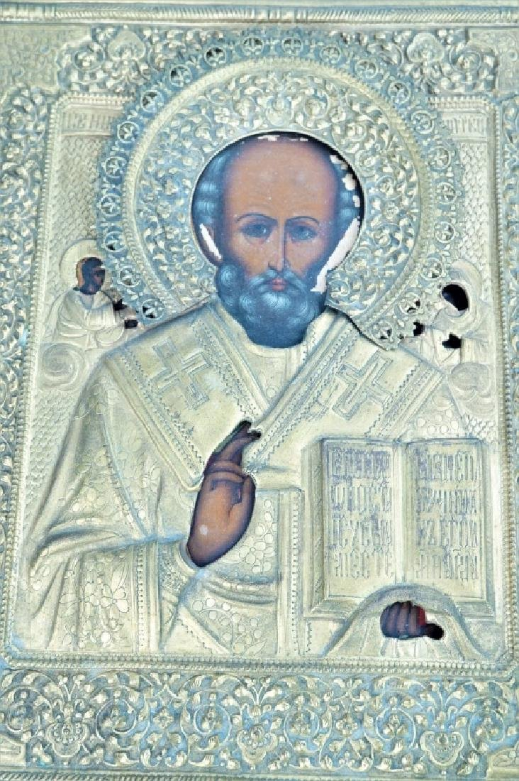 19th CENTURY RUSSIAN ORTHODOX ST NICHOLAS ICON - 3