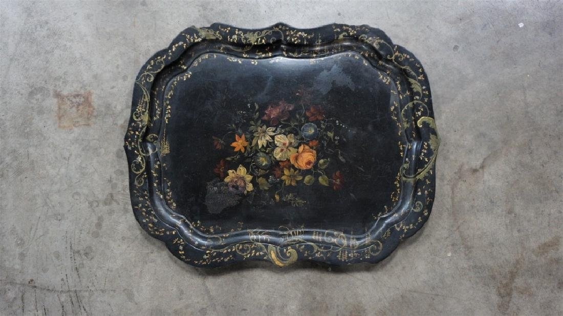 ANTIQUE TOLE PAINTED PAPER MACHE TRAY