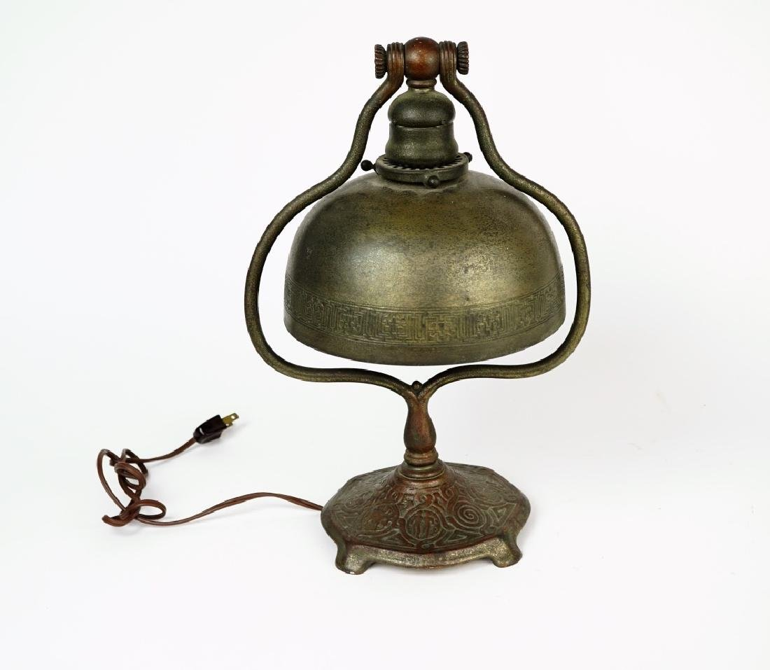 ANTIQUE TIFFANY STUDIOS BRONZE ZODIAC DESK LAMP - 2