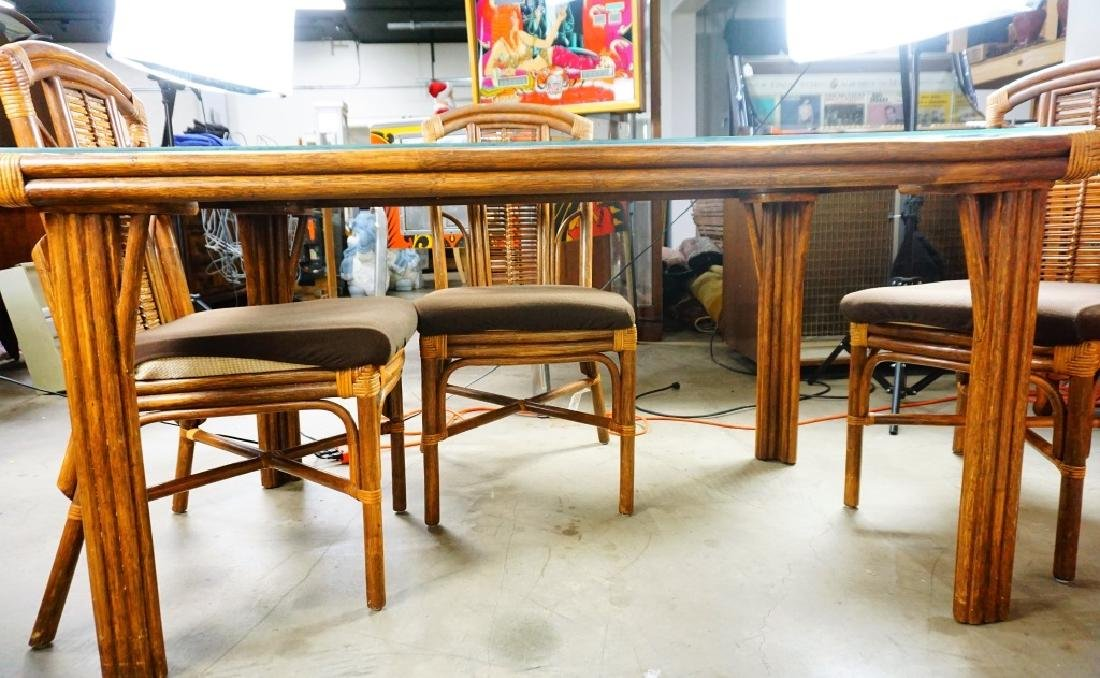 5pcs RATTAN AND GLASS DINETTE SUITE - 6