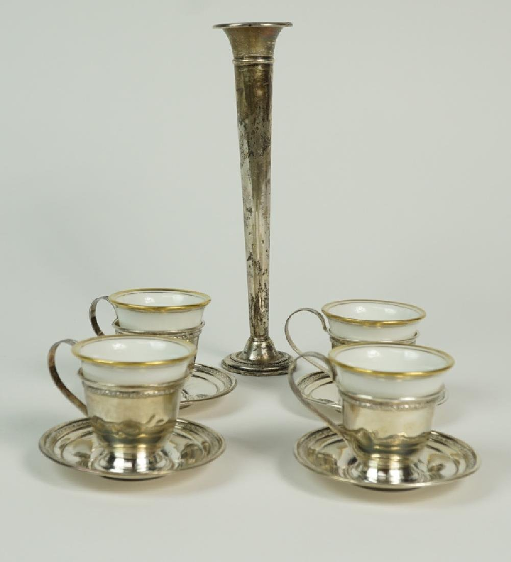 (4) STERLING DEMITASSE SETS WITH LINERS & BUD VASE