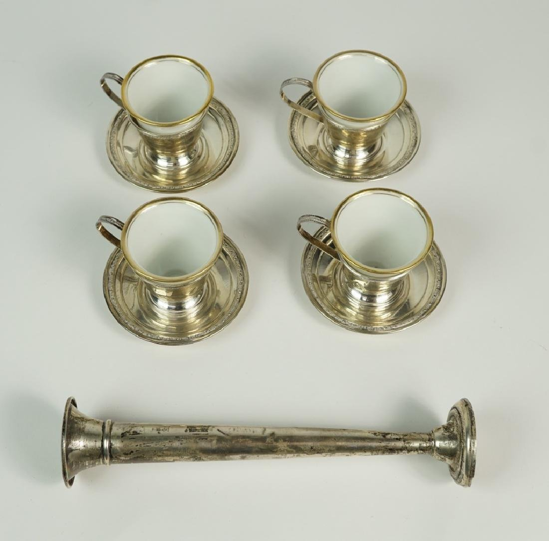 (4) STERLING DEMITASSE SETS WITH LINERS & BUD VASE - 3