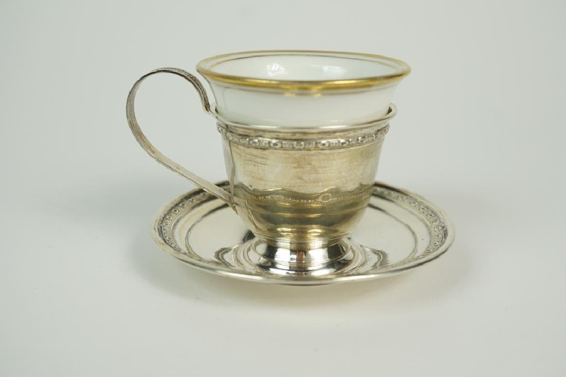 (4) STERLING DEMITASSE SETS WITH LINERS & BUD VASE - 4