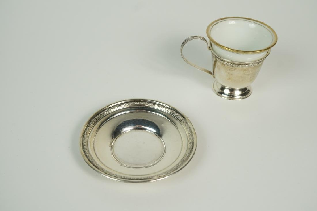 (4) STERLING DEMITASSE SETS WITH LINERS & BUD VASE - 5