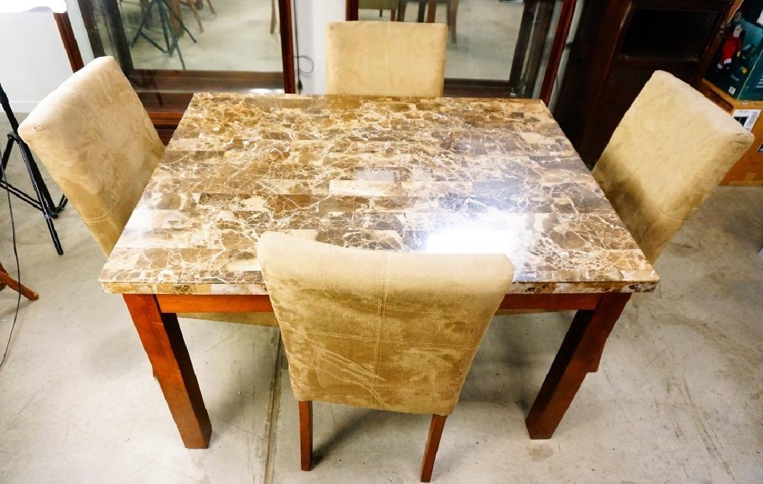 5pc MODERN DINETTE SET WITH MARBLE TOP