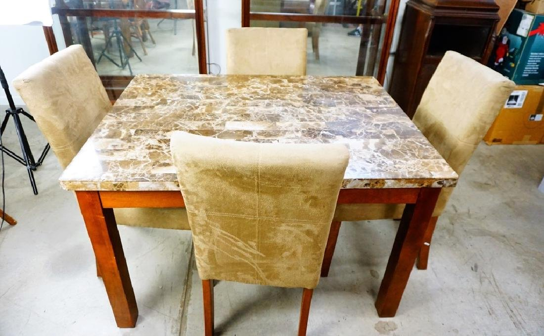 5pc MODERN DINETTE SET WITH MARBLE TOP - 2