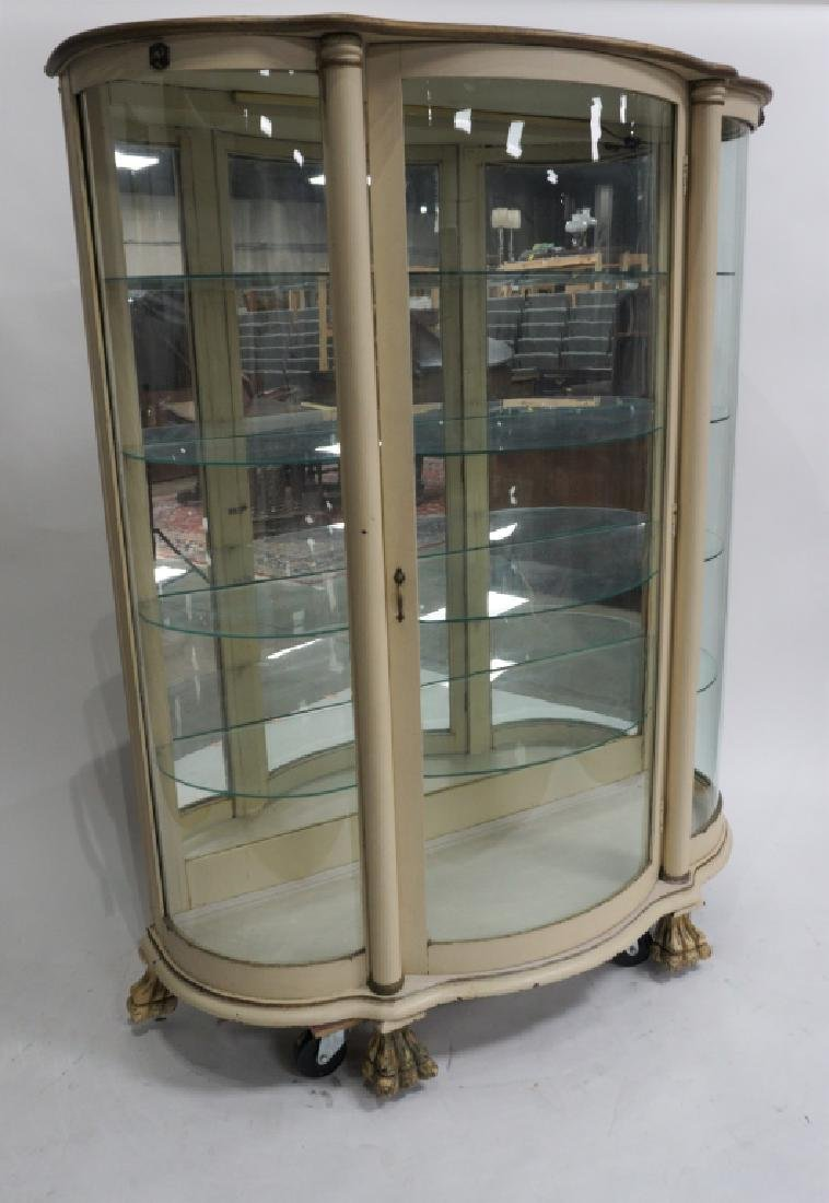 ANTIQUE BOW FRONT CURIO CABINET