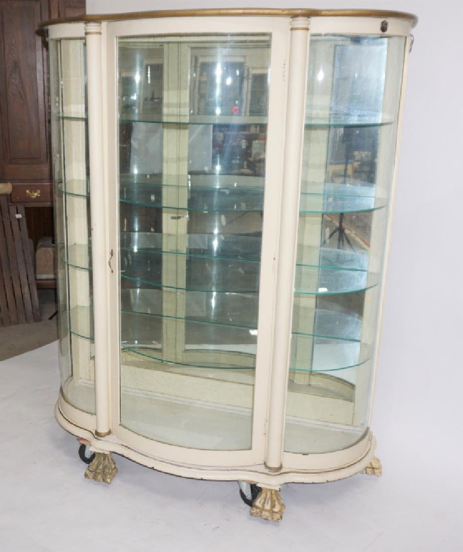 ANTIQUE BOW FRONT CURIO CABINET - 2
