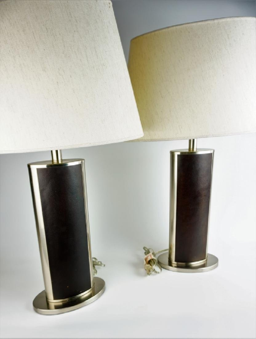 PAIR MODERN STAINLESS & LEATHER TABLE LAMPS
